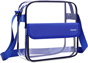 Gonex Clear Crossbody Tote Bag, NFL Stadium Approved PVC Transparent Messenger Shoulder Bag, See Through Bag for Women Blue