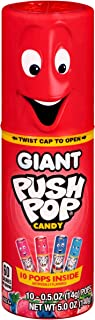 Giant Push Pop Container with Individually Wrapped Lollipop Variety Party Pack - 10 Count Lollipop Suckers in Assorted Fru...