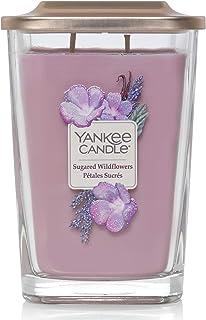 Yankee Candle grande bougie parfumée carrée à deux mèches et couvercle, collection Élévation, senteur Bois soyeux