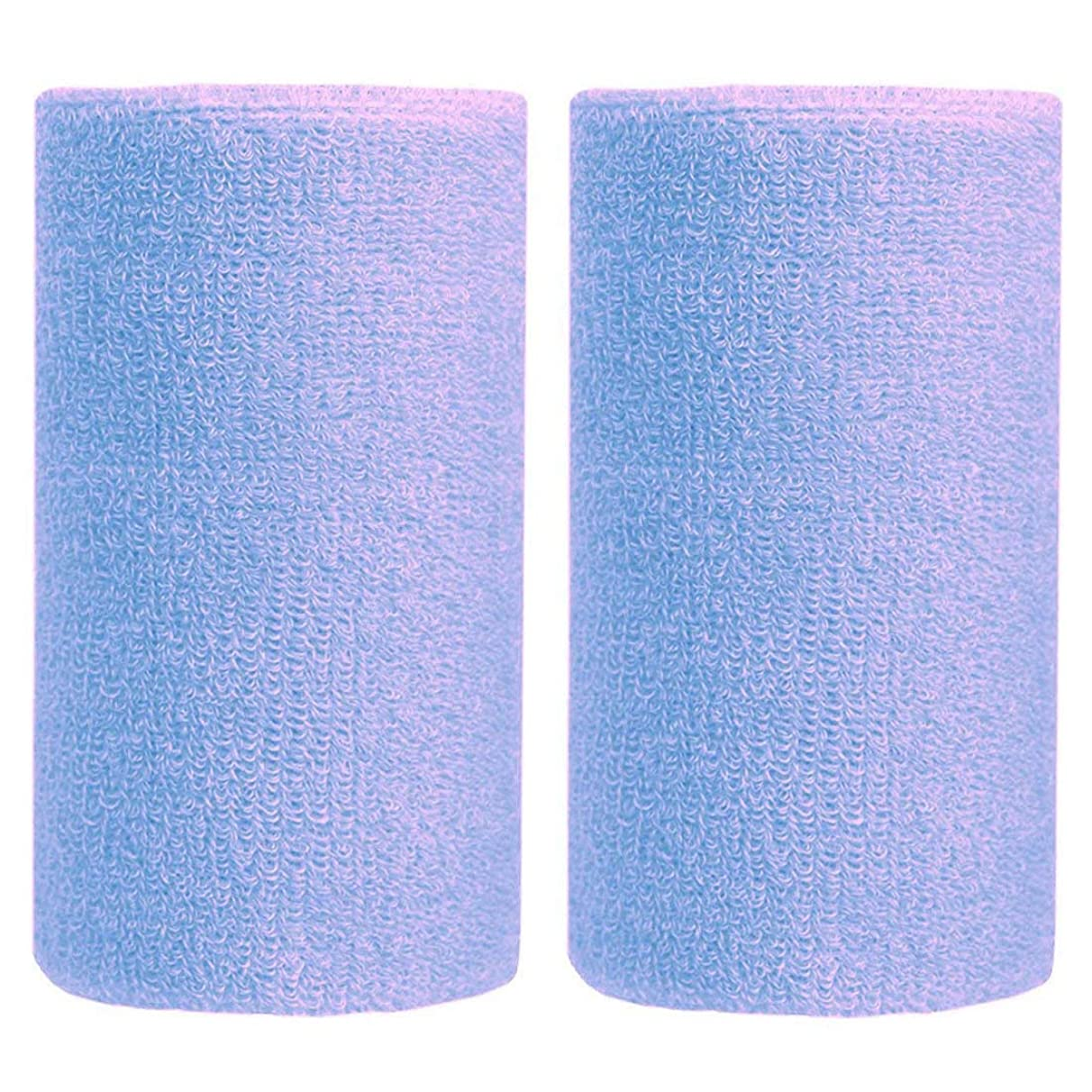 BBOLIVE 6' Inch Wrist Sweatband in 19 Different Neon Colors - Athletic Cotton Terry Cloth - Great for All Outdoor Activity(1 Pair)