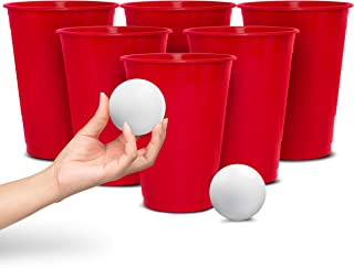 Wembley Oversized Beer Pong Party Drinking Game with 12 Big Cups, 2 Balls & Carrying Bag