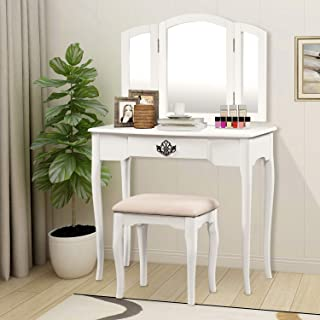 Harper&Bright Designs Vanity Table Set with Mirror and Cushioned Stool Makeup Vanity with Bench Dressing Table with Drawer (White)