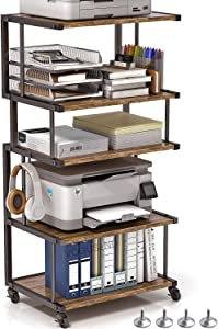 VOGUSLAND 5 Tier Printer Stand,Industrial Under Desk Printer Cart and Desktop Printer Stand with Lockable Wheels & Leg Pad for Office and Home (Vintage Brown, 5-Tier)