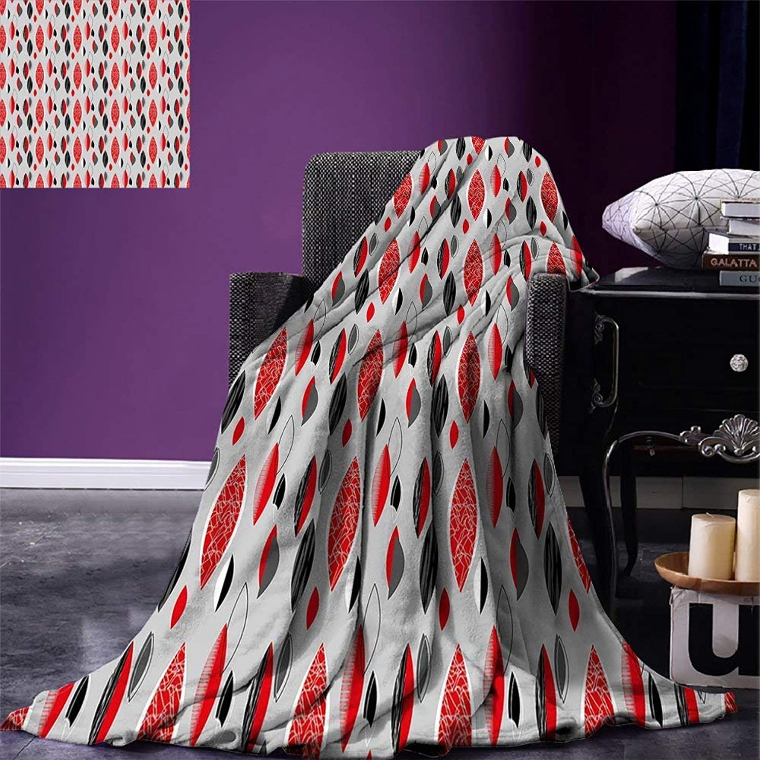 VANKINE Mid Century Super Soft Lightweight Blanket Abstract Oval Leaf Forms with Different Designs and color Combinations Oversized Travel Fashion BlanketRed Black Pale Grey