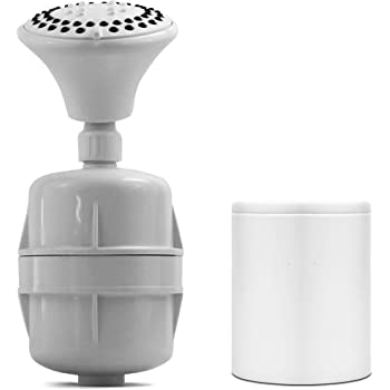 White Shower Filter w/ 5 Function Massager Head - ProMax Water Filter Cartridge removes Chlorine and Hard Water Minerals - Great for Dry, Sensitive Skin, and Hair - High Pressure and Water Saving