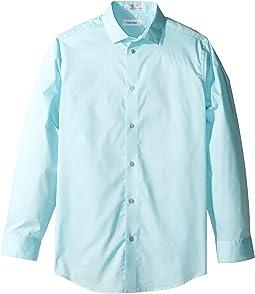 Long Sleeve Solid Stretch Poplin Shirt (Little Kids)