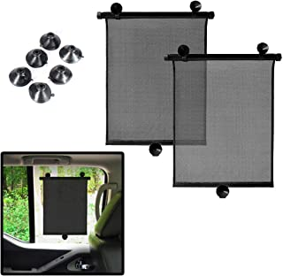 VaygWay Car Window Sun Shade - Car Roller Blinds Retractable Sunshade – Car Window Shade for Baby – Rear and Side Window Universal – 2 Pack Auto Sun Block – Protects UV Rays and Heat