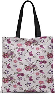 S4Sassy Yellow Columbine & Egyptian Lotus Floral Printed Canvas Large Tote Bag for Beach Shopping Groceries Books 16x12 Inches