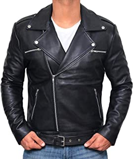 Motorcycle Mens Leather Jacket - Genuine Lambskin Biker Leather Jacket for Men