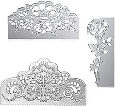 3 Pieces Rose Cutting Die Flower Shape Embossing Dies Carbon Steel Die Cuts Stencils for Scrapbooking Card Making Supplies