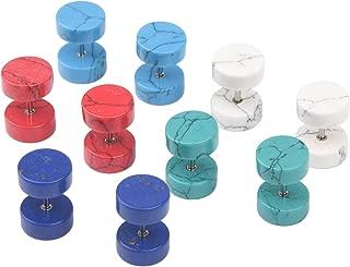 Milakoo Stainless Steel Stud Earrings for Men Women Cheater Fake Ear Plug Gauges Illusion Tunnel 18G