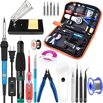 Soldering Iron Kit Electronics, 21-in-1, 60W Adjustable Temperature Soldering Iron