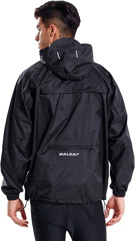 BALEAF Men's Light Running Hiking Rain Jacket Waterproof with Hood Windbreaker Pullover Coats Hoodie Packable