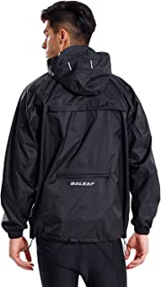 Baleaf Men's Rain Jacket Cycling Running Packable Outdoor Waterproof Hooded Pullover Raincoat Poncho Windbreaker