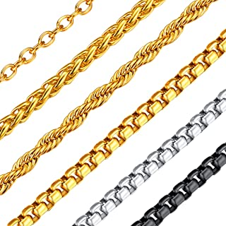 FOCALOOK 18-32 Inches 3MM Square Rolo Chain, DIY Metal Cord, 18K Gold/Black Gun Plated 316L Stainless Steel Men Women Jewelry, Neck Link Chain for Layering, Round Box Necklace Three Colors Available