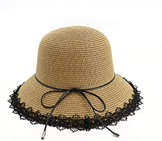 Summer hat Women's Hat Summer Sun Hat Foldaway Lace Ribbon Beach Hat Bowknot Hat Holiday Hat hat (Color : Coffee, Size : 56-58CM)