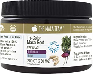 The Maca Team Premium Pure Raw Organic Maca Root Capsules – Certified Organic, GMO-Free and Gluten-Free, 750 mg, 200 Ct.