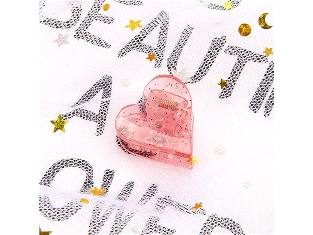連合かけるモーターOsize 美しいスタイル 子供のハート型ヘアピンミニ爪クリップヘアアクセサリー(ピンク)