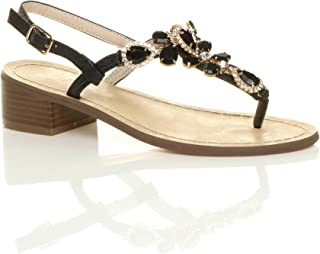 Ajvani Women's Low Mid Block Heel Buckle T-Bar Gem Diamante Toe Post Sandals Size