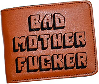 Bad Mother F Ker Wallet Pulp Fiction, Embroidered Tan Synthetic Leather, Men's Bifold