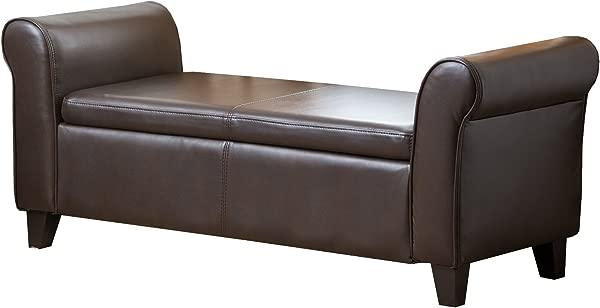Abbyson Easton Bonded Leather Storage Ottoman Bench