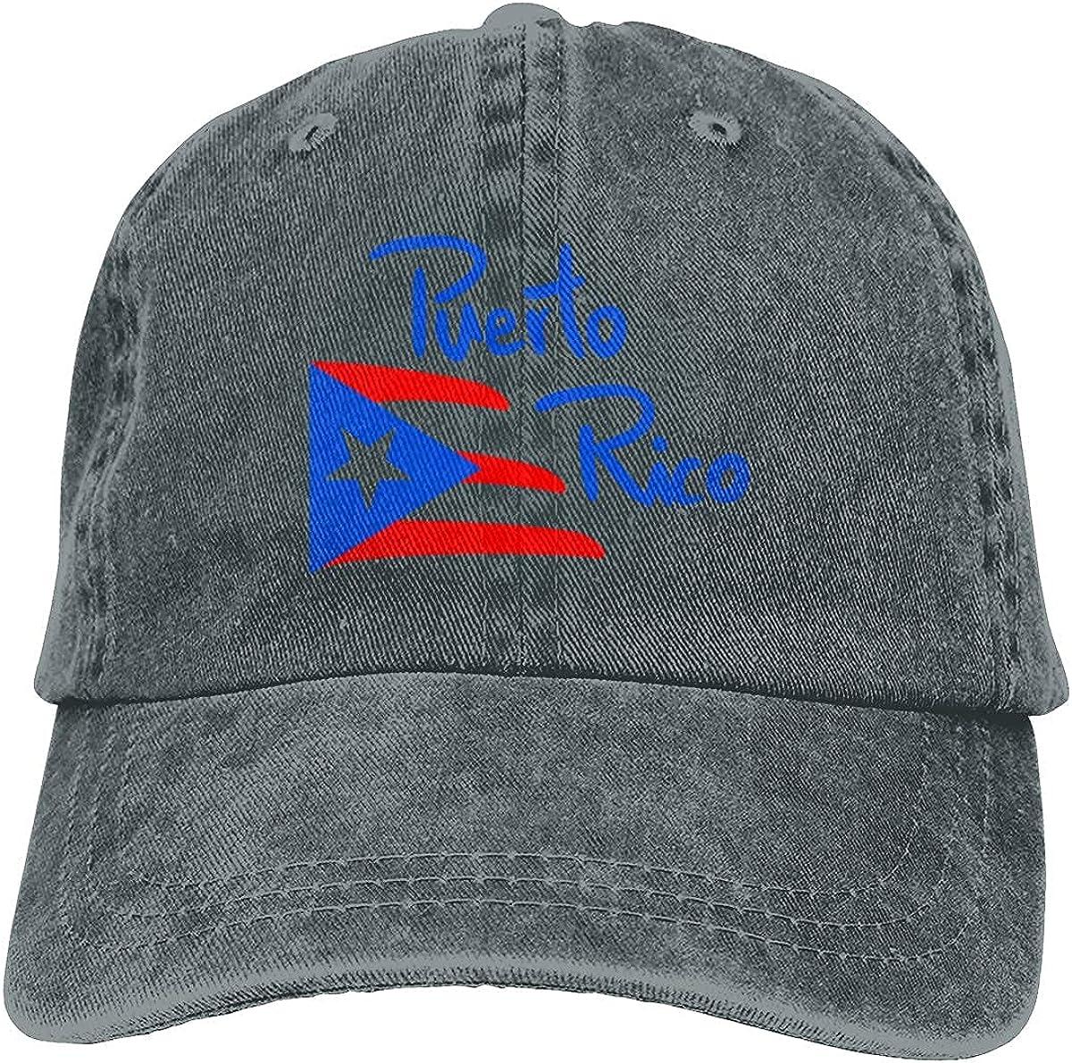 Classics Unisex Puerto Rico Flag2 Adjustable Hat Cowboy Cap for Mens&Womens Black