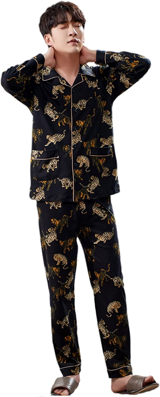 Men's cotton light pajamas set long sleeve pajamas fashion trousers pajamas pants