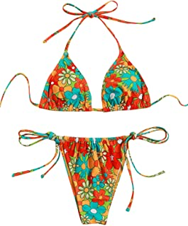 Women's Floral Print Halter Triangle Tie Side Bikini Set...
