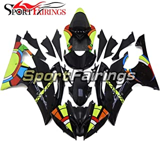 Sportfairings Full Gloss Black Yellow Injection ABS Plastic Motorcycle Fairings For Yamaha YZF600 R6 2008-2015 2016 Fittings