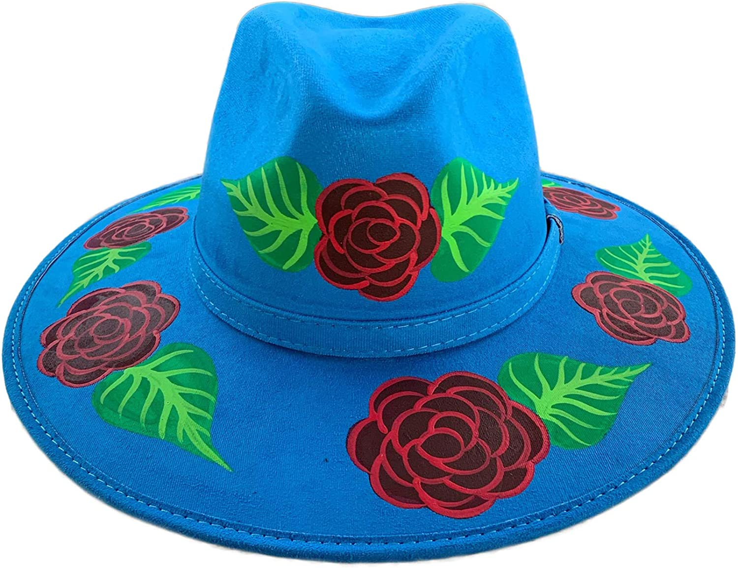 Catrinaonline.com Hand-Painted Suede Hat Turquoise