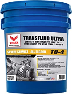 Triax TRANSFLUID Ultra to-4 - Multi-Viscosity Powershift Transmission TO-4M Drive Train and Heavy Duty Transmission Fluid (5 GAL Pail)