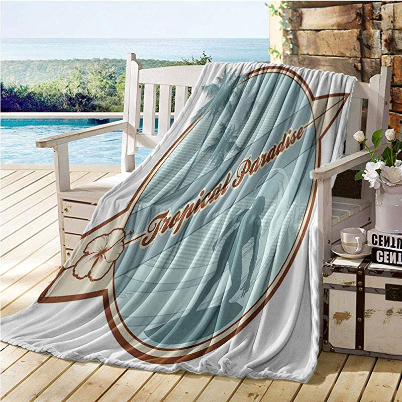 Mademai Surf Swaddle Blanket Retro Image Silhouette Of A Surfer And Palms Tropical Paradise Wave Illustration Kids Blankets Blue Cream Brown 50 X80