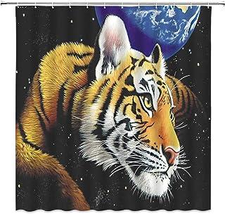 日本市場で強力 TigerShowerCurtainHandDrawnUnderStarrySkyNightMoonSurfaceWildAnimalBathroomCurtainSet70x70 ..
