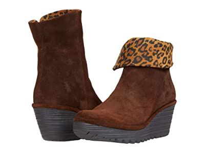 FLY LONDON YETY248FLY (Brown/Tan Oil Suede/Cheetah Print) Women