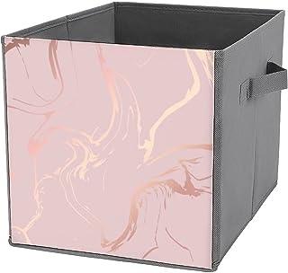 Boîtes de rangement pliables en forme de cube avec motif marbre or rose - Solides - Avec poignées de transport - Pour mais...