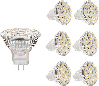 BOGAO MR11 GU4.0 3.5 W Led bombillas, Equival 25-35 W lámparas halógenas, AC/DC 12 V, 350 lm, 120 ° Flood viga, empotrable, iluminación de la pista, luz blanca cálida (3000K), 6 unidades