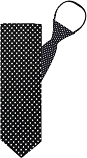 "Jacob Alexander Polka Dot Print Boys 14"" Polka Dotted Zipper Tie - Black"