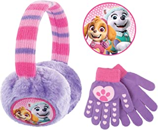 Nickelodeon Toddler Winter Earmuffs and Kids Gloves,Paw Patrol Skye and EverestEar Warmersfor GirlsAges 4-7, Purple