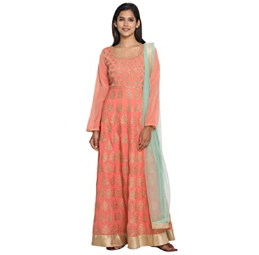 MOHEY Women's Georgette Embroidered Graceful Stitched Suit Set (Peach)