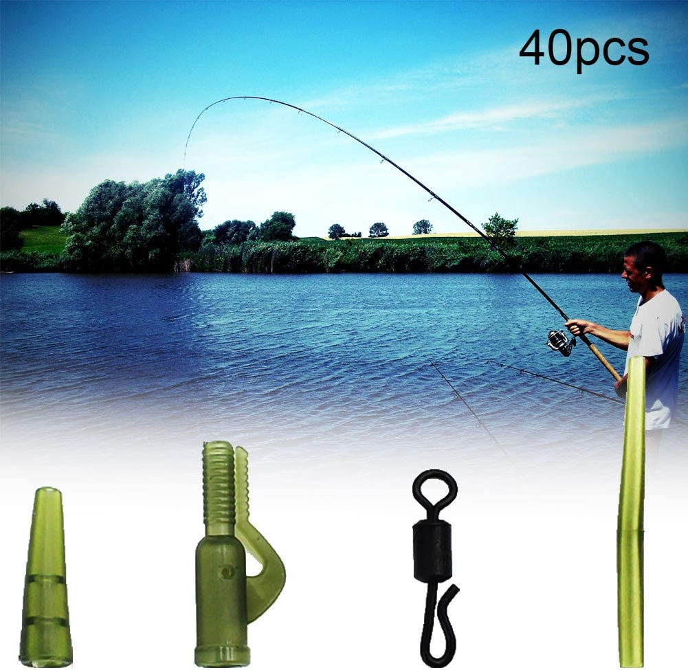 Uticon color marr/ón clips de plomo tubos de goma 40 unidades clips giratorios Kit de herramientas giratorias para pesca antienredos para pesca de carpa