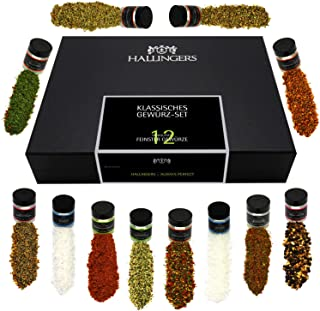 Hallingers 12er Gewürz-Geschenk-Set mit Gewürzen aus aller Welt 220g - Klassisches Gewürz-Set Design-Karton - zu Muttertag & Vatertag