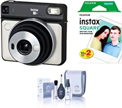 Fujifilm Instax Square SQ6 - Instant Film Camera - Pearl White, Bundle Instax Square Instant Film, Twin Pack, White Frame (20 Exposures) + ProOPTIC Cleaning Kit