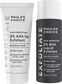 Paula's Choice SKIN PERFECTING 8% AHA Gel Exfoliant & 2% BHA Liquid Travel Duo, Facial Exfoliants for Blackheads & Wrinkles, Face Exfoliators w/Glycolic Acid Salicylic Acid