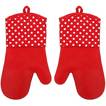 Baumwolle 1 Paar Backhandschuh WENKO Silikon Rot Topfhandschuh