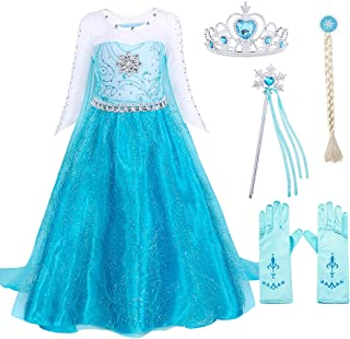 WonderBabe Girls Princess Costume Snow Sequin Fancy Dress Kids Birthday Party Dress Up Halloween Outfits 3-4 Years