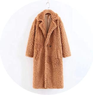 Female Personality Hair Loose Lapel Coat Thick Warm Long Cotton Coat H075