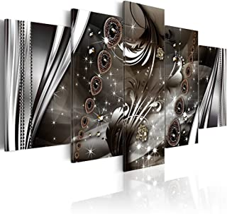 Konda Art - Framed Large Modern Abstract Canvas Wall Art Artwork Black and White Sparkle Painting Giclee Picture Print for Bedroom Decor Ready to Hang (W40 x H20, Improvisation with Jewelry)