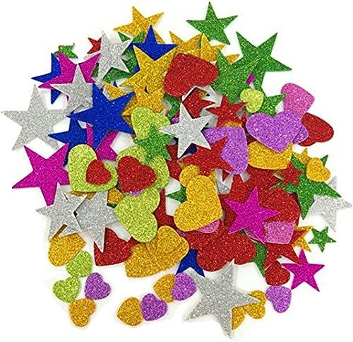 Lot de 150 mini autocollants décoratifs en mousse pailletée, étoiles et cœurs, pour décoration murale et loisirs créa...