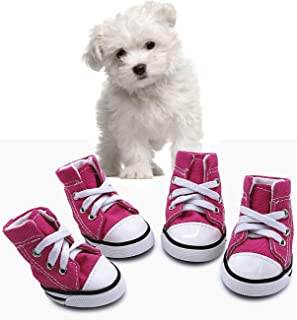 abcGoodefg Pet Dog Puppy Canvas Sport Shoes Sneaker Boots, Outdoor Nonslip Causal Shoes, Rubber Sole+Soft Cotton Inner Fabric