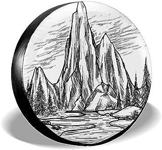 Stile Disegnato a Mano Vista con Foresta Pini Paesaggio lacustre Schizzo idilliaco Drew Tours Copriruota Copriruota Copriruota per Camion SUV da 15 Pollici